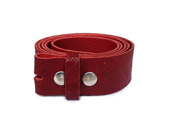 Wechselgürtel 4cm Schlangenprägung rot